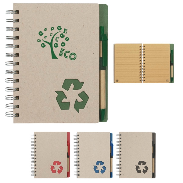 Eco-rich - Eco-friendly Spiral Notebook And Matching Pen With Elastic Pen Loop Photo