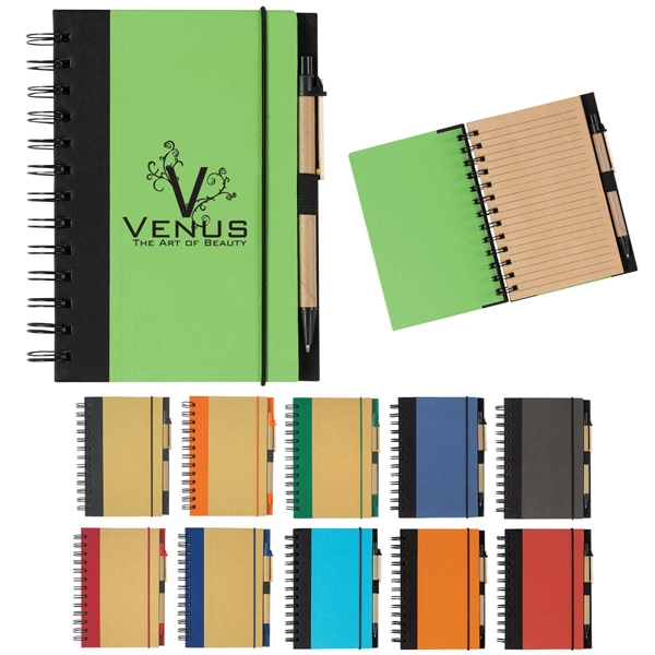 Hitgreen (tm) - Spiral Notebook And Pen With Elastic Pen Loop And Elastic Band Closure Photo