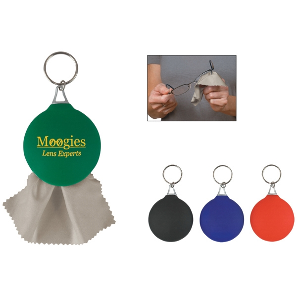Rubber Key Chain With Microfiber Cleaning Cloth Photo