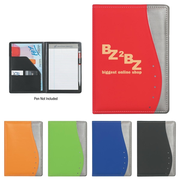 "Wave - 5"" X 7"" Portfolio With Writing Pad And Inside Pocket With 2 Additional Pockets Photo"