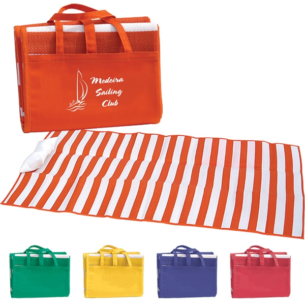 Beach Mat With Inflatable Pillow Made Of Tubular Polypropylene Material Photo