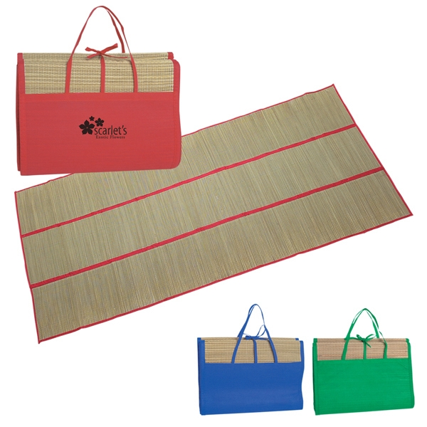 Straw Beach Mat, Water And Sand Resistant, Easily Folds Into A Handy Carrying Case Photo