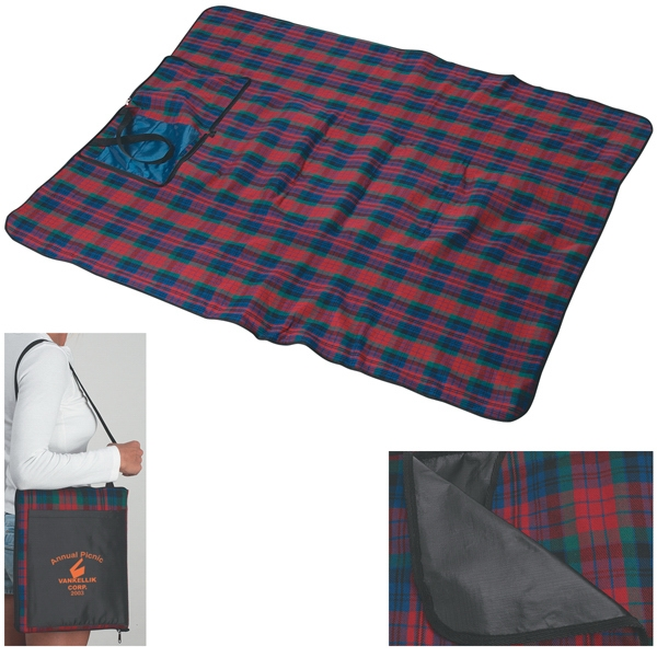 Picnic Blanket With Polyester Plaid Front And Pvc Backing, Folds Into Carrying Case Photo