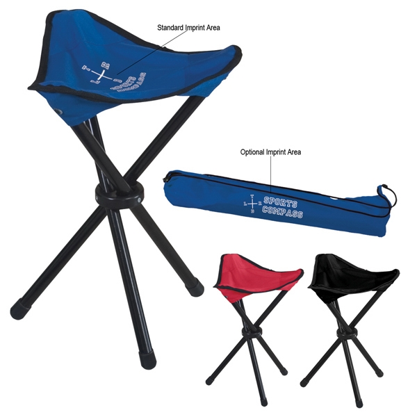 Folding Tripod Stool With Tubular Steel Frame And Carrying Bag Photo