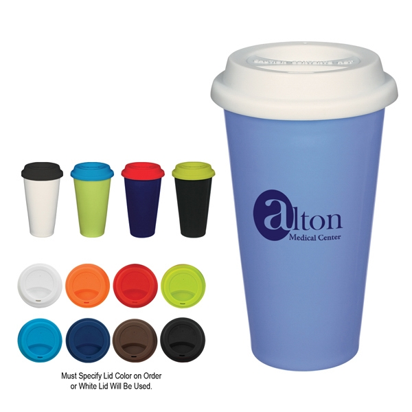 11 oz. Double Wall Ceramic Mug With Silicone Lid