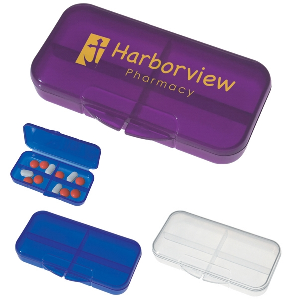 Rectangular Shape Pill Holder With 4 Separate Compartments Photo