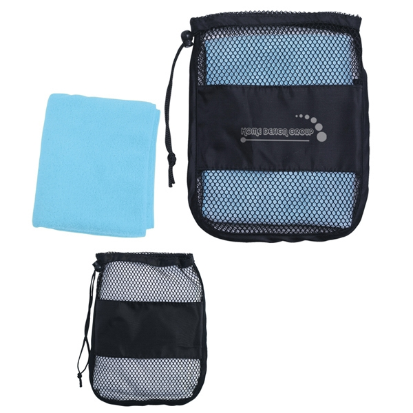 Sport Towel In A Mesh/nylon Carrying Bag With Drawstring Photo