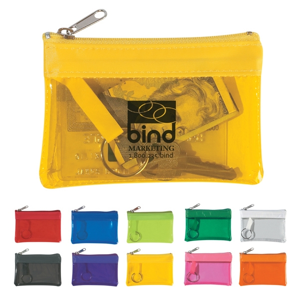 Translucent Zippered Coin Pouch With Split Ring Inside Photo