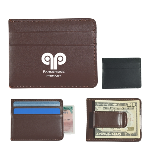 Money Clip Card Holder With Slim Profile, Leather Look Photo