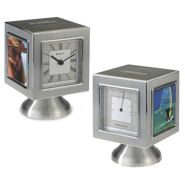 Quadratic - Cube Shape Clock With Thermometer And Photo Frame With Pedestal Base Photo