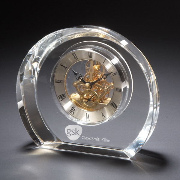 Copenhagen - Round Desk Clock, Set Within Beautiful Glass Photo