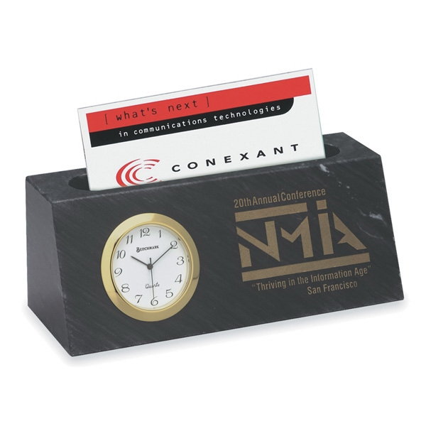 Black Marble Business Card Holder With Quartz Clock Photo