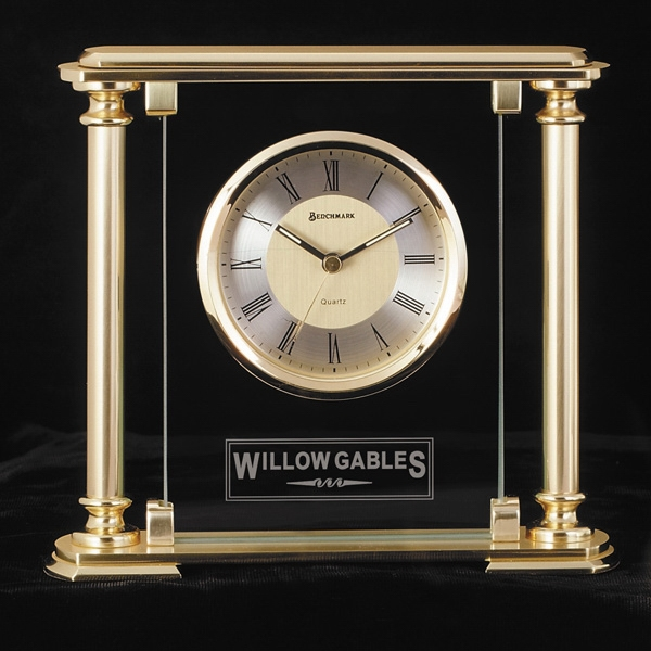 Victoria - Desk Clock With 10mm Glass Panel With Satin Finish Brass Columns Photo