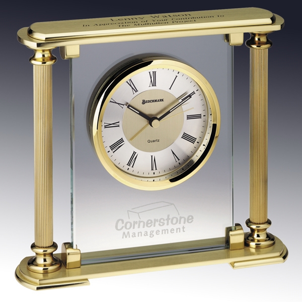 Prince Albert - Quartz Desk Clock With 10mm Glass Panel And 2 Fluted Columns Photo