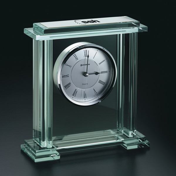 Caspian - Beveled Jade Glass Desk Clock With Base, Roman Numerals Photo