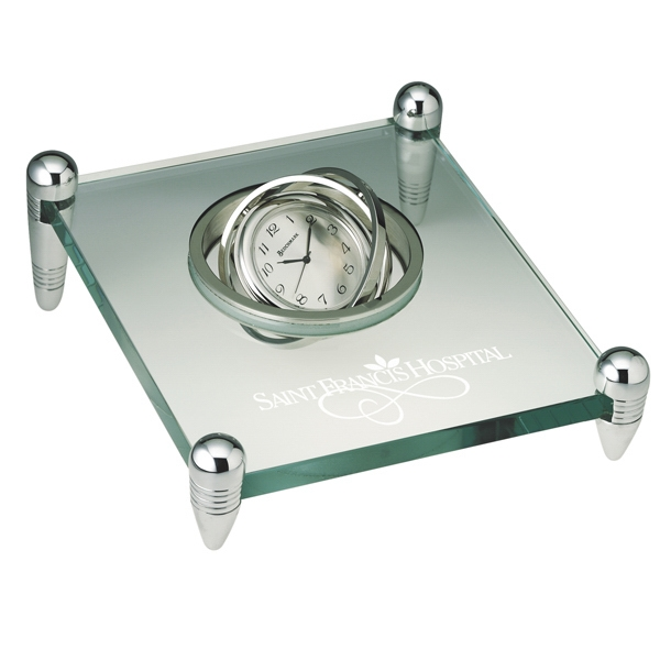 Transcendental - Spinning Desk Clock Suspended In Glass Stand With 4 Silver Posts. Closeout Photo