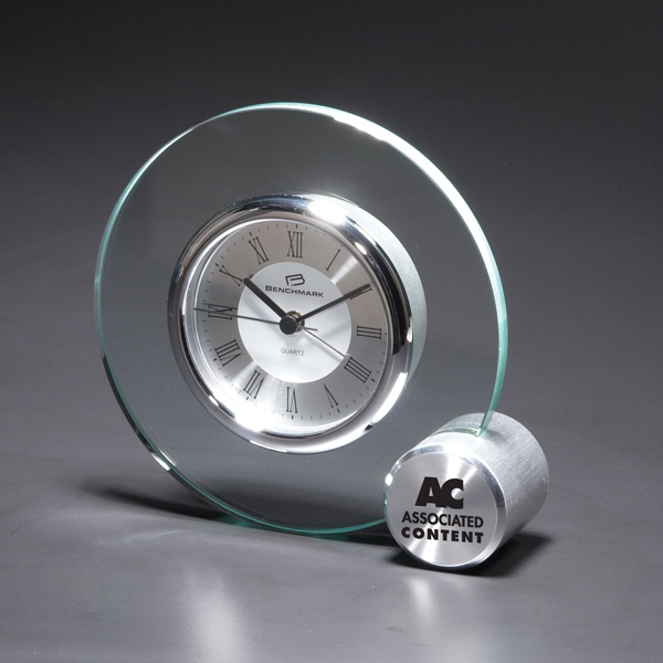 Concentric - Round Glass Desk Clock With Right Corner Cube Photo
