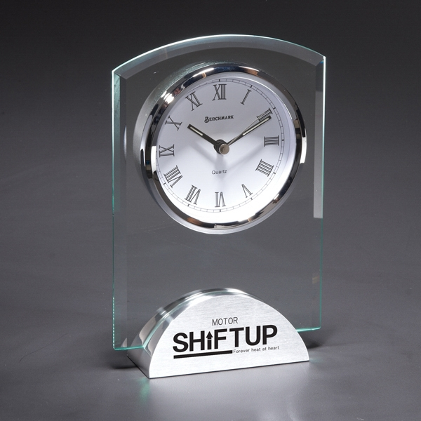 Duchess - Glass Desk Clock With Beveled Glass With Silver Aluminum Base Photo