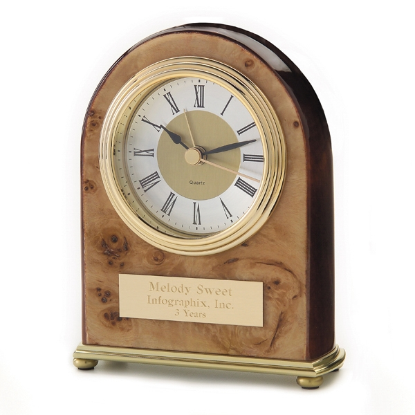 Palermo - Desk Clock With Arch Shape Accentuated With Burl Wood And Brass Accents Photo