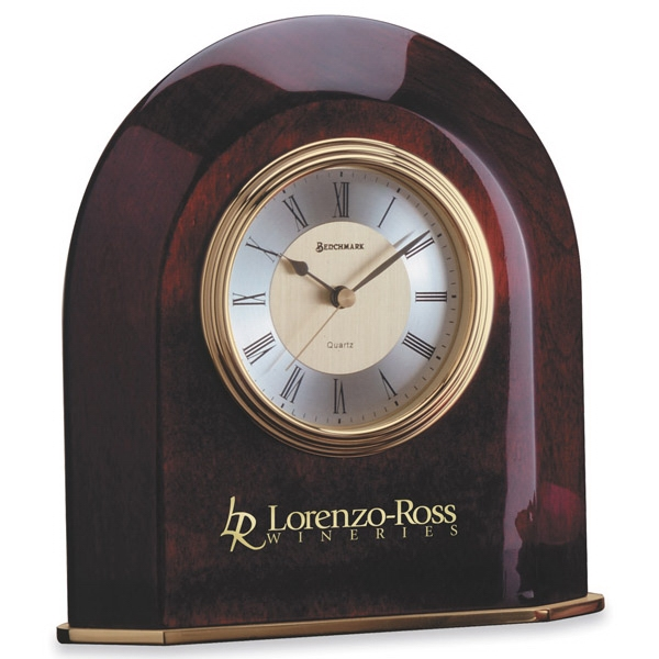 Dumont - Arch Shape Wood Desk Clock, Piano Finish With Brass Base Photo