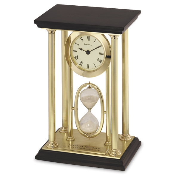 Executive Duet - Desk Clock With Sand Timer And Black Top Photo