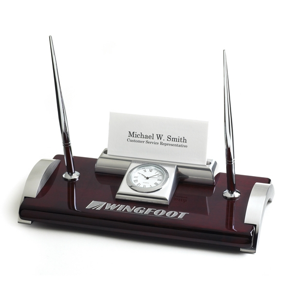 Ambassador - Desk Clock With Two Ink Pens And Business Cards Holder Photo