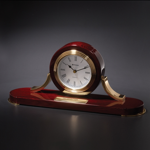 St. James - Desk Clock Created From Piano Finished Mahogany Colored Hardwood Photo