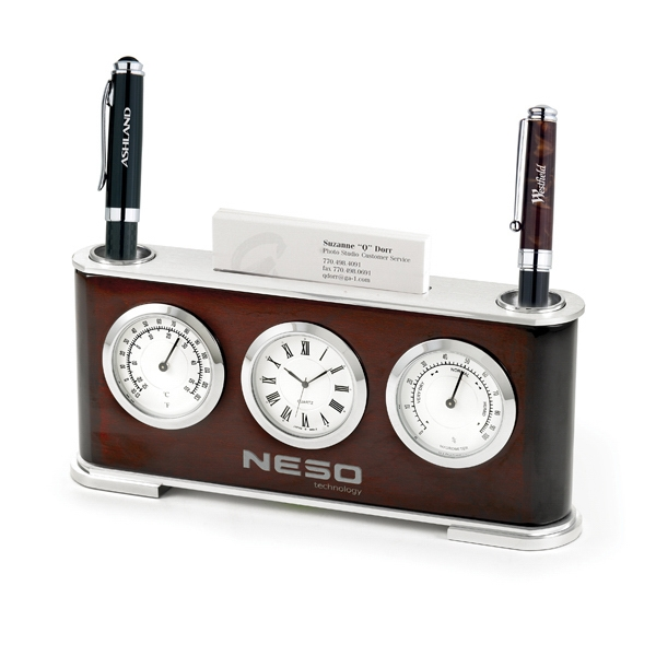 The Executive - Clock, Thermometer, Hygrometer With Business Card Holder Photo