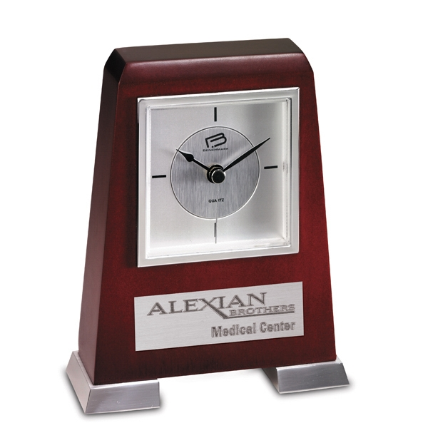Paraluz - Hardwood Desk Clock With A 2 Footed Metal Base And Contemporary Dial. Closeout Photo
