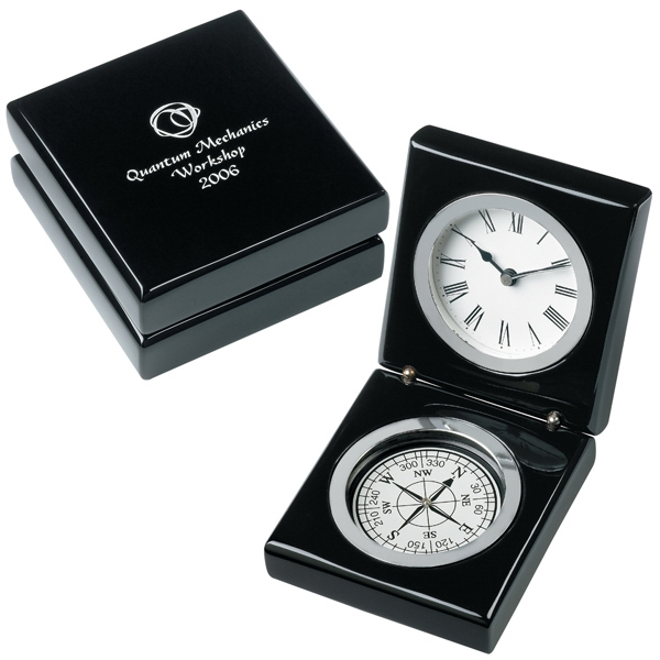 Bearing - Clock. Black Piano Wood Timepiece With Compass Photo