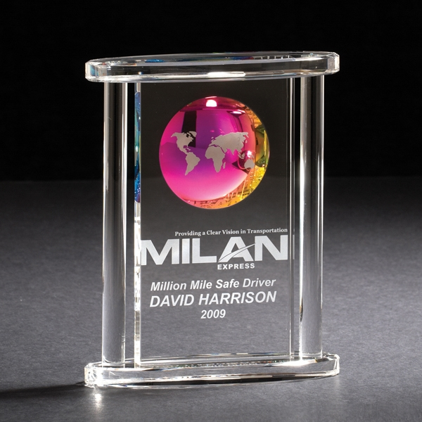 Spectrum - Glass Award With A Dichroic Coated Globe That Captures The Colors Of The World Photo