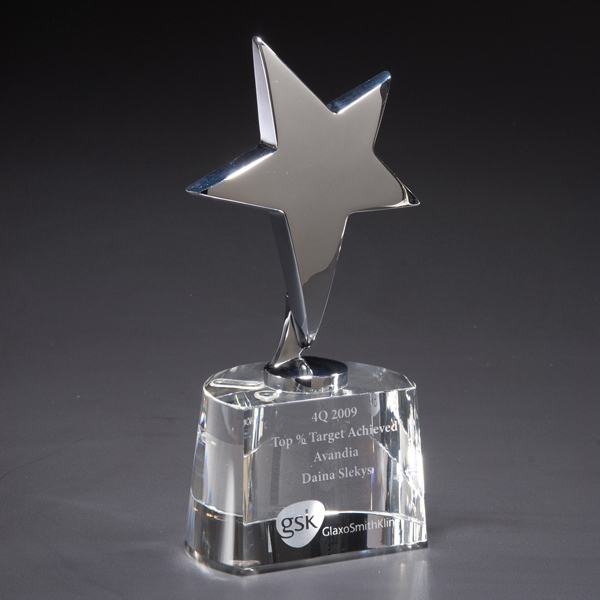 Claro - Glass Award Gleaming Atop A Crystal Base Photo