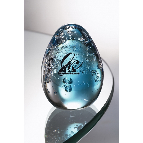 Sapphire - Art Glass Award Transforming From Clear To Blue Hues. Closeout Photo