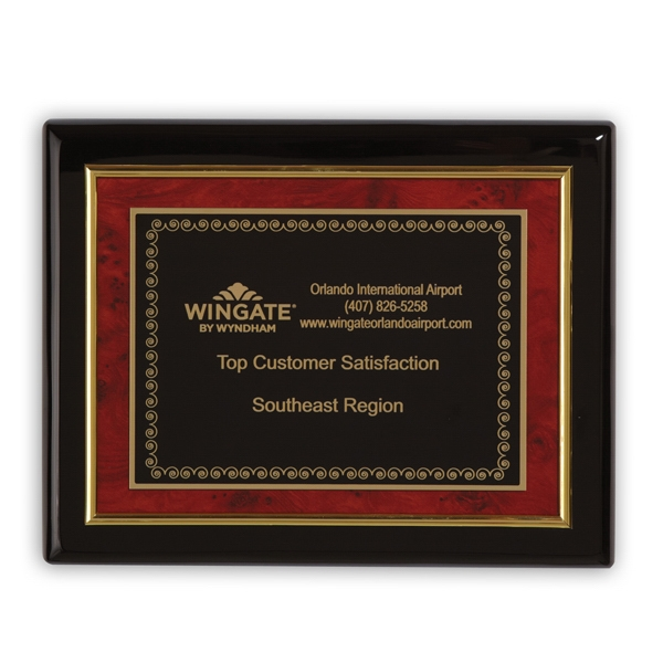 Savoy - Plaque Award With Black, Gold And Burl Wood Touches Photo