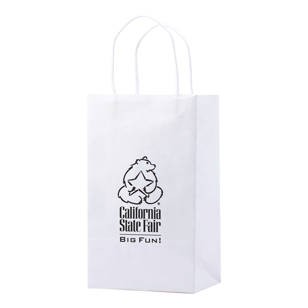 "Enviro Sacks (tm) - 5.5"" X 8.375"" - Recycled, White Kraft Paper Shopping Bag. Made In Usa Photo"