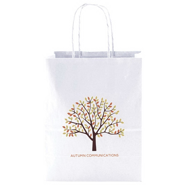 "Enviro Sacks (tm) - 8"" X 10.5"" - Recycled, White Kraft Paper Shopping Bag. Made In Usa Photo"