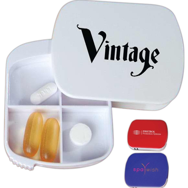 Swing Pill Box With 4 Individual Compartments And Swing Open Cover Photo