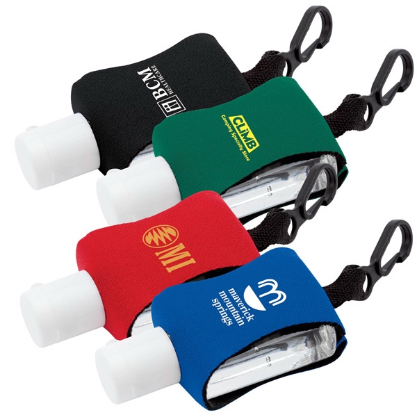 Hand Sanitizer With Clip And Neoprene Sleeve, 0.5 Oz Photo