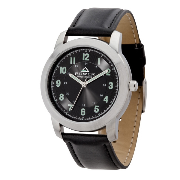 Men's 39mm - Watch With Brushed Silver Metal Case And Leatherette Strap Photo