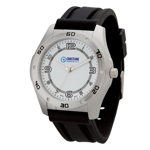 Unisex Sport Style Watch With Brushed Silver Metal Case Photo