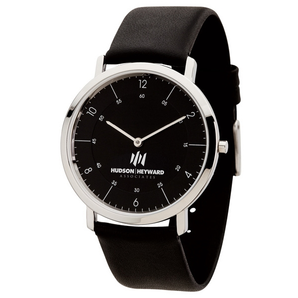 Men's 39mm - Watch With Slim And Classy Natural Leather Strap Photo