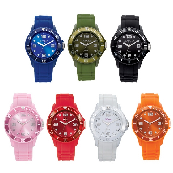 Unisex Watch With Rubber Strap In Cool Colors, Coordinating Bezel Photo