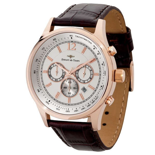 Men's 43mm - Chronograph Watch With Rose Gold Finish Date Display Photo