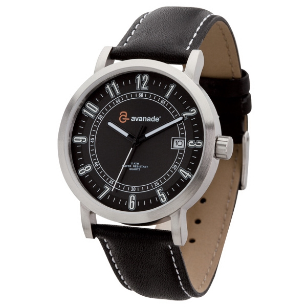 Men's - Watch With Solid Steel Case, Black Dial And Genuine Leather Straps Photo