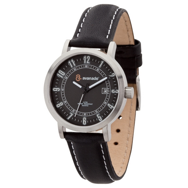 Ladies - Watch With Solid Steel Case, Black Dial And Genuine Leather Straps Photo