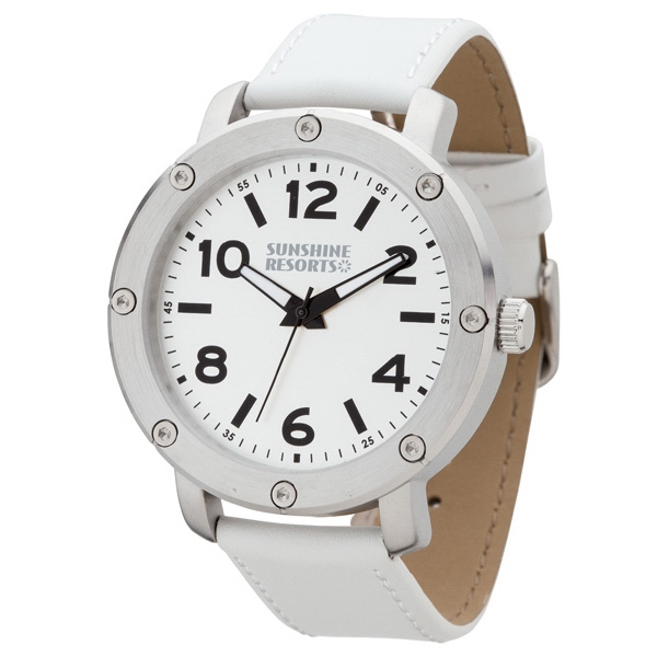 Unisex Watch With White Leather Strap Photo