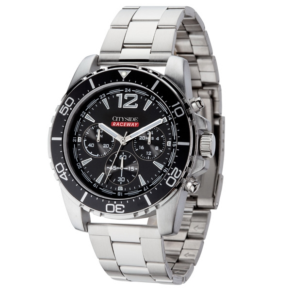 Unisex Chronograph Watch With Polished Silver Metal Case Photo