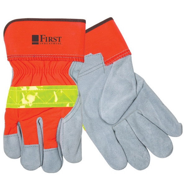 Hi-Vis Leather Glove With Safety Cuffs