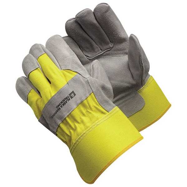 Yellow Split Leather Glove With Safety Cuffs Photo