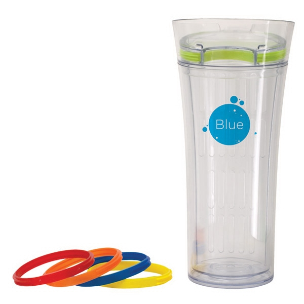Infusion - Tumbler With 5 Interchangeable Silicon Bands To Add A Splash Of Color, 16 Oz Photo
